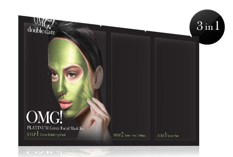 double dare OMG! Platinum Green Facial Mask Kit трёхкомпонентная маска с себоконтролем