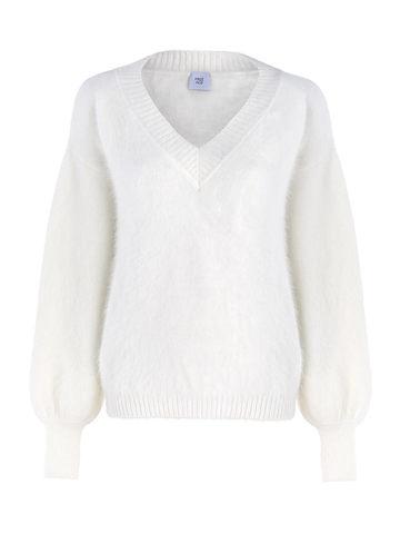 Женский джемпер белого цвета из ангоры с объемными рукавами - фото 1
