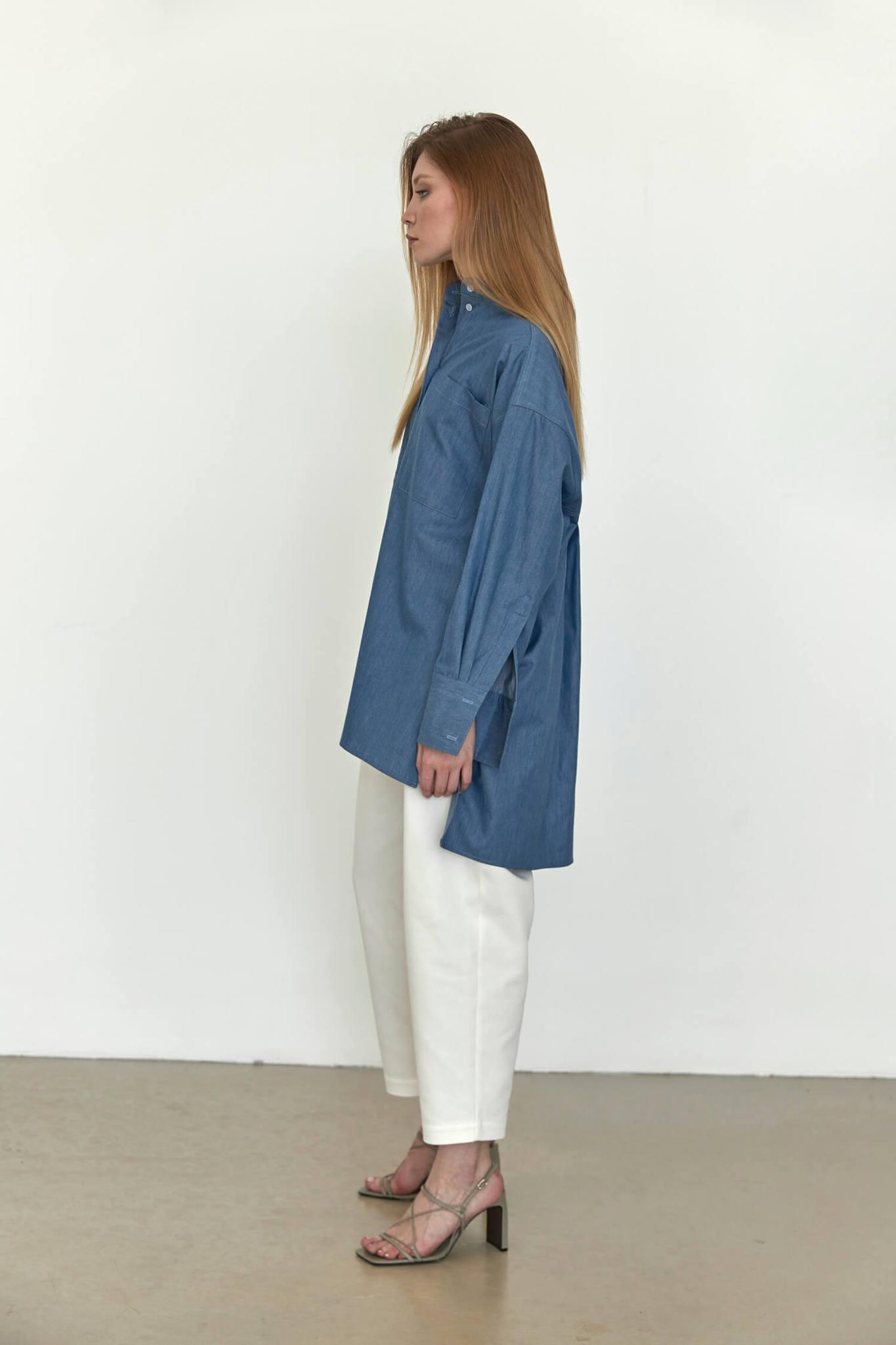 Рубашка оверсайз в мужском стиле, синий деним