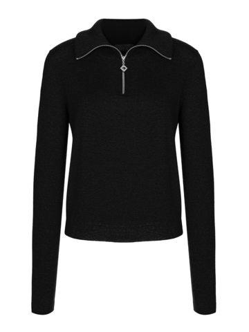 Женский джемпер черного цвета из шерсти и шелка - фото 1