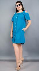 Клариса. Оригінальна сукня-сорочка plus size. Електрик.