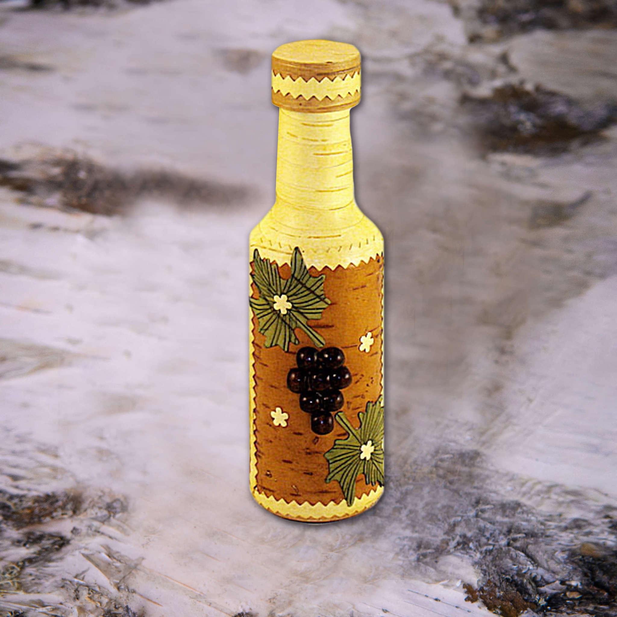 Бутылка оплетённая берестой, ягода, 0,25л на бересте