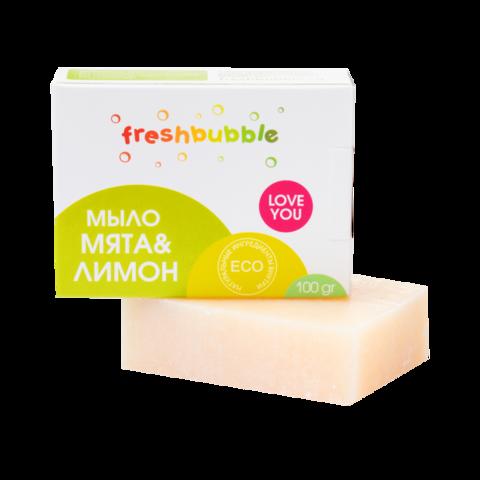 Мыло кусковое Мята и Лимон, Freshbubble 100 гр. (+/-10 гр.)