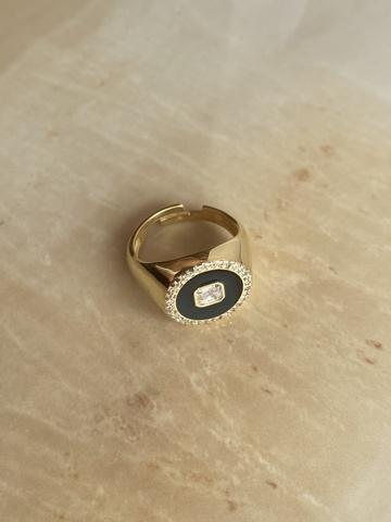 Кольцо Сайн черное, позолоченное серебро