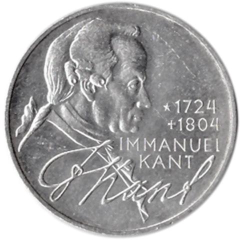 5 марок. 250 лет со дня рождения Иммануила Канта. Германия. (D). Серебро. 1974 год. AU