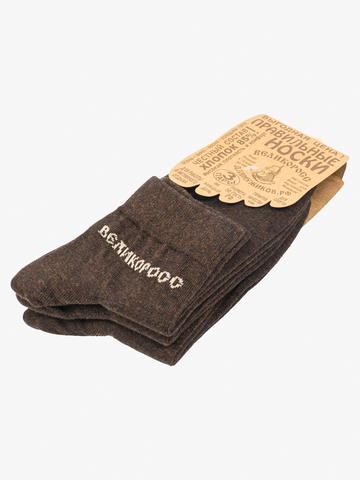 Носки короткие темно-коричневого цвета – тройная упаковка