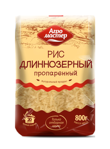 """Рис """"Агромастер"""" длиннозерный  обработанный паром 800 г"""