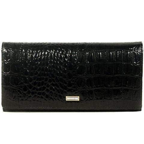 Чёрный кошелёк женский лаковый Coscet нат.кожа CS21-201A