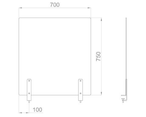 Настольный экран на струбцинах Ш.700мм