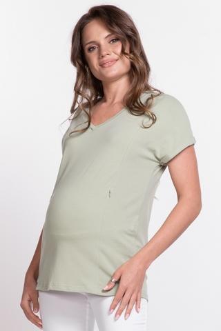 Футболка для беременных и кормящих 11772 зеленый