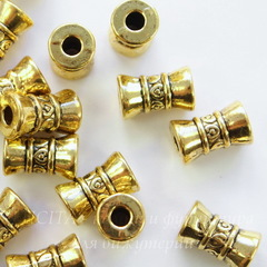 Бусина металлическая - трубочка 15х9 мм (цвет - античное золото)