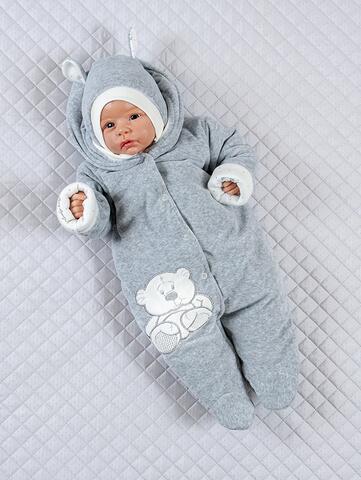 Комбинезон для новорожденного с шапкой Стиляга серый