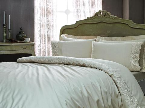 Сатиновое постельное бельё 1,5 спальное, MINOSO бежевое