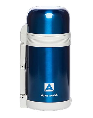 Термос универсальный (для еды и напитков) Арктика (0,8 литра) с широким горлом, синий