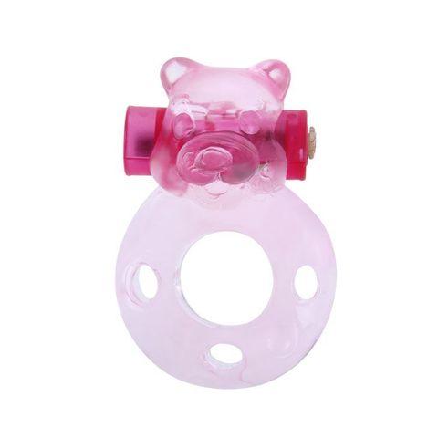 Розовое эрекционное виброкольцо с мишкой на вибропуле