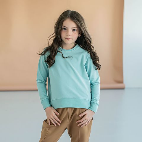 Cropped sweatshirt for teens - Sea Blue