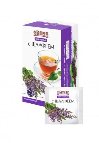 БЕЛТЕЯ Тонизирующий чёрный чай  20пак с шалфеем при проблемах с пищеварением