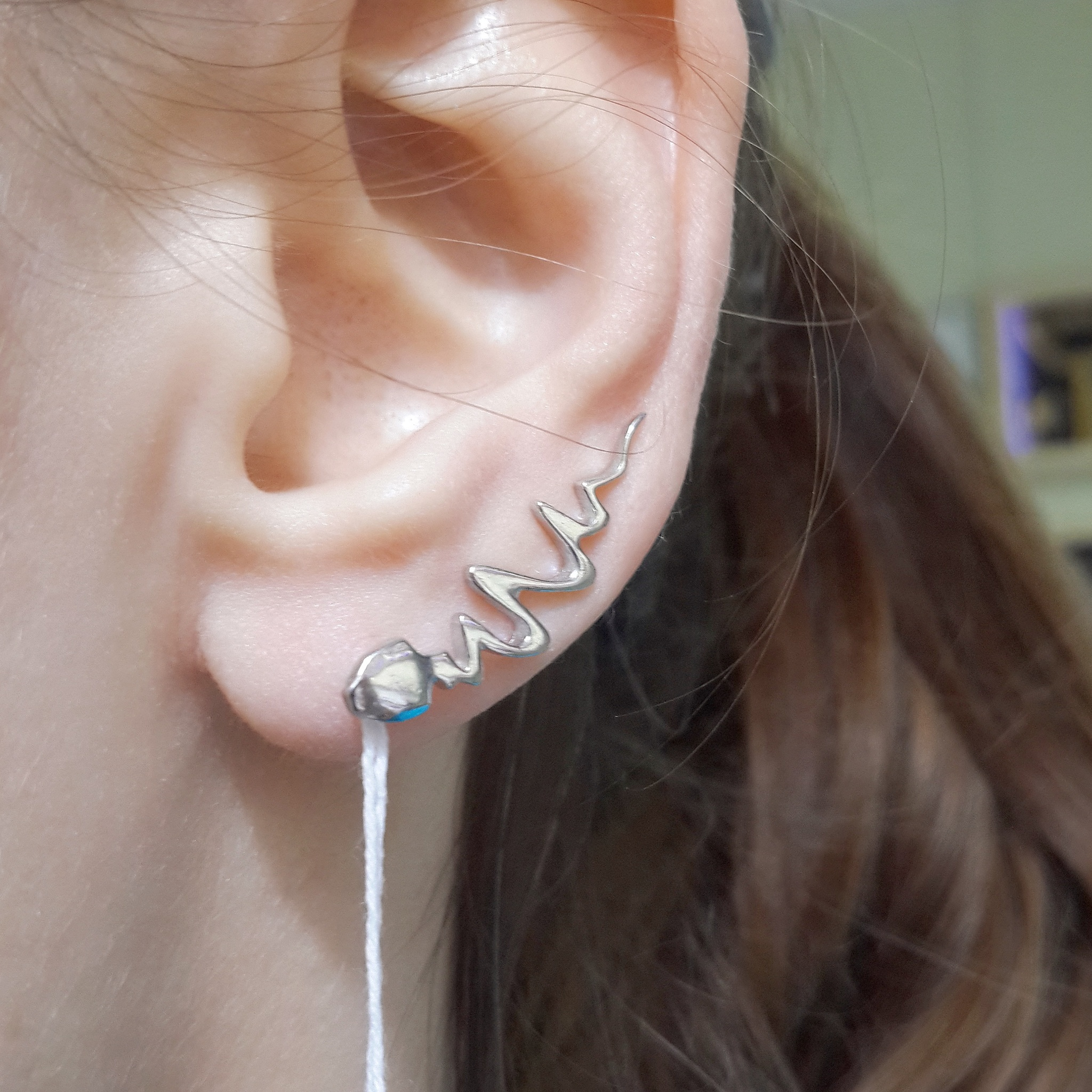 Zigzags earrings, sterling silver