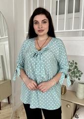 Ріма. Вільна жіноча блуза з зав'язками. М'ята горох