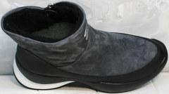 Модные полусапожки женские зимние Jina 7195 Leather Black-Gray