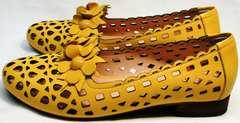 Стильные туфли на низком каблуке босоножки женские закрытый нос и пятка Phany 103-28 Yellow.