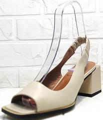 Кожаные босоножки женские бежевые Brocoli H150-9137-2234 Cream
