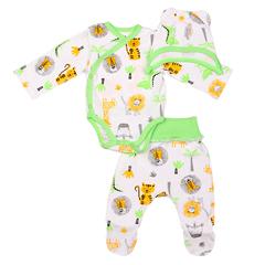Mini Fox. Комплект для новорожденных швами наружу 3 предмета, африка