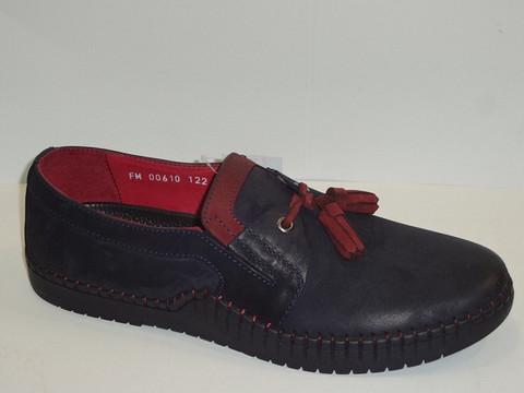 Смарт кэжуал мокасины слипоны мужские. Кожаные туфли летние мокасины. Синие туфли слипоны на шнурках Luciano Bellini Blue-Red (40 размер)