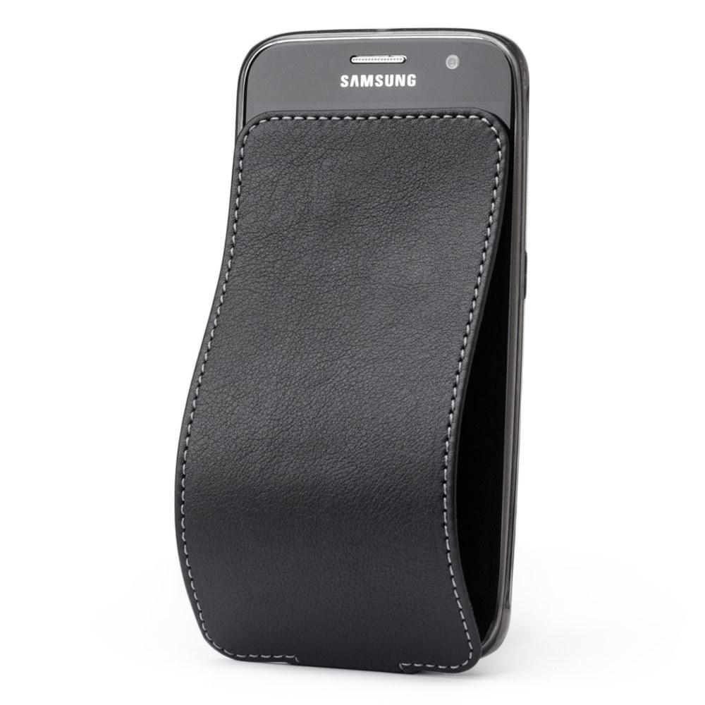 Чехол для Samsung Galaxy S6 из натуральной кожи теленка, черного цвета