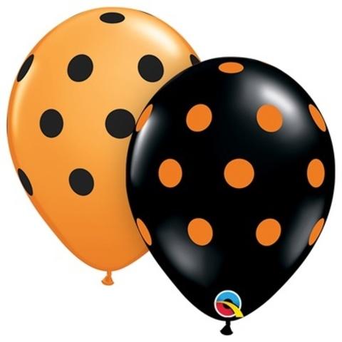 Воздушные шары Горошек оранжево-черный