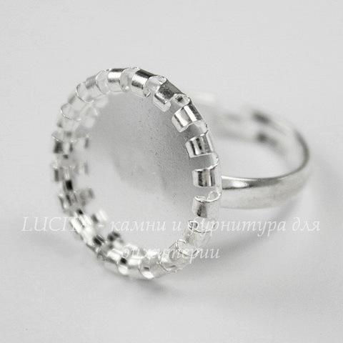 Основа для кольца с сеттингом c круглым краем для кабошона 14 мм (цвет - серебро)