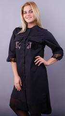 Глем. Ошатна сукня-сорочка великих розмірів. Чорний + чорний.