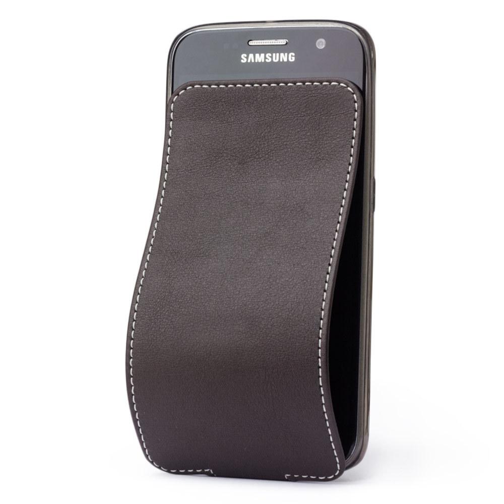 Чехол для Samsung Galaxy S6 из натуральной кожи теленка, темно-коричневого цвета