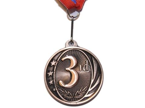 Медаль спортивная с лентой за 3 место. Диаметр 5 см: 1801-3