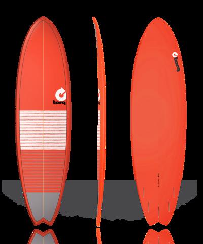 Серфборд TORQ 7'2'' Fish - Lines (red/gray)
