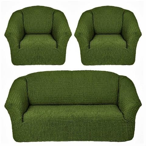 Комплект чехлов для дивана и двух кресел зеленый без оборки.