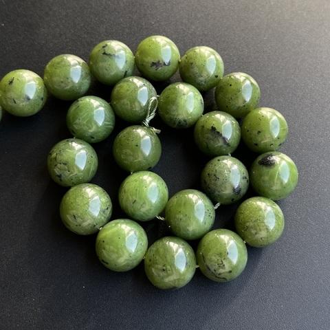 Нефрит байкальский шар 14,5 мм 1 бусина