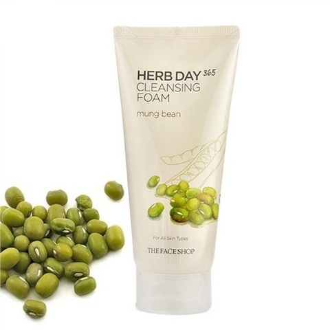 The Face Shop Herb Day 365 Cleansing Foam Mung Beans пенка с бобами маш для проблемной кожи