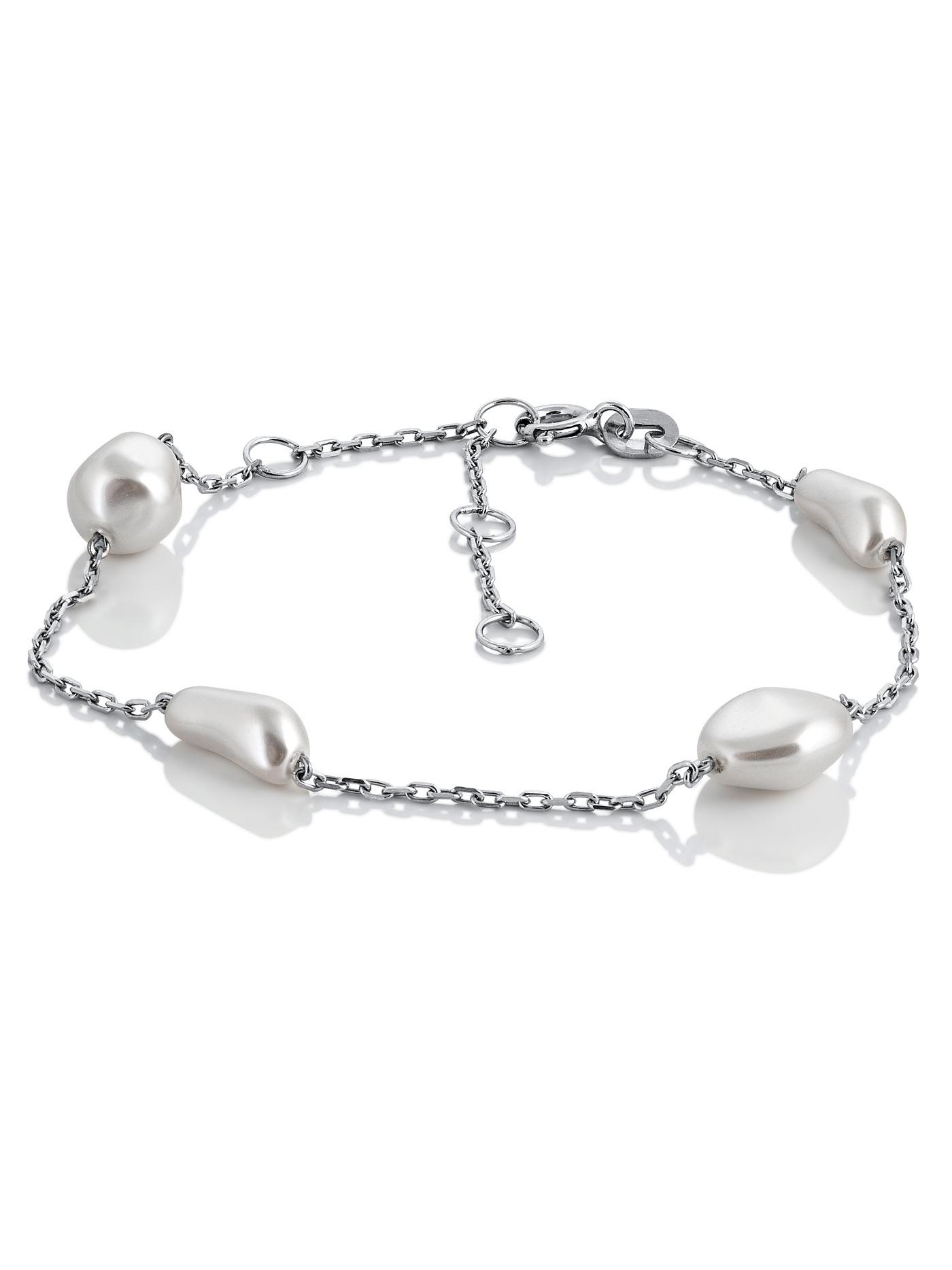 Серебряный браслет с белым барочным искусственным жемчугом