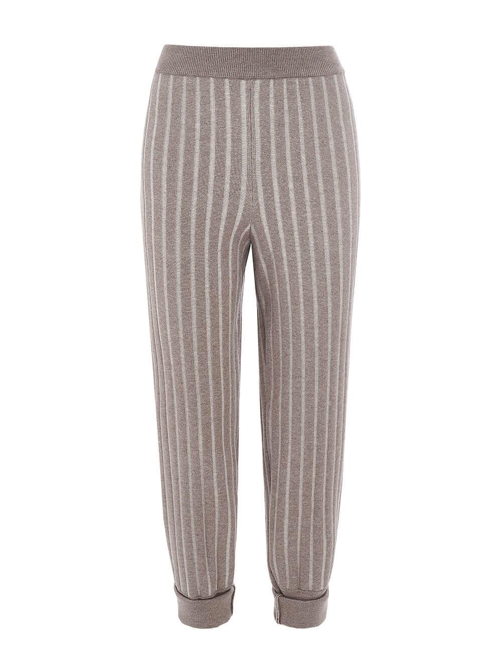 Женские брюки темно-кофейного цвета из вискозы - фото 1