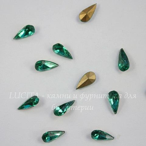 """Ювелирные стразы Preciosa """"Капля"""" Emerald (8х5 мм)"""