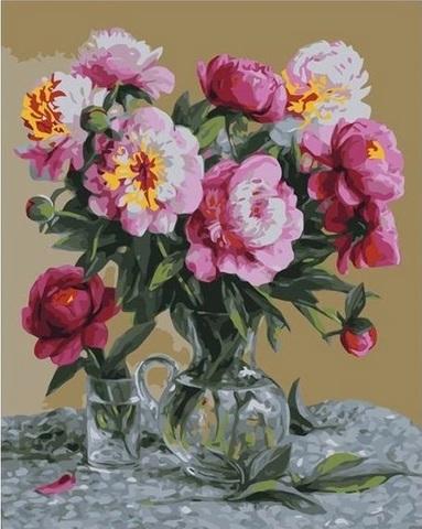 Алмазная Мозаика 40x50 Розовый букет на столе (арт. GA74227 )