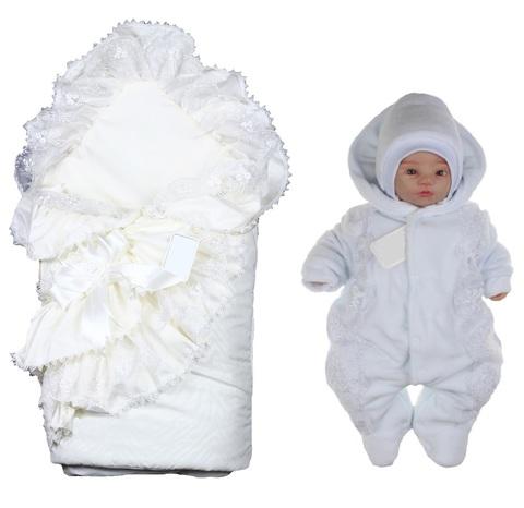 Детский комплект на выписку из роддома Красотка белый