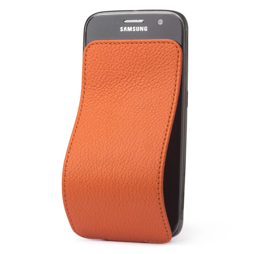 Чехол для Samsung Galaxy S6 из натуральной кожи теленка, оранжевого цвета
