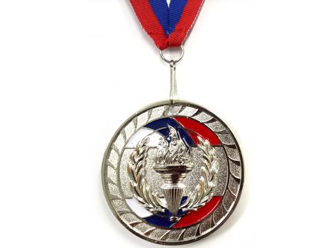 Медаль спортивная с лентой за 2 место. Диаметр 6,5 см: 1802-2