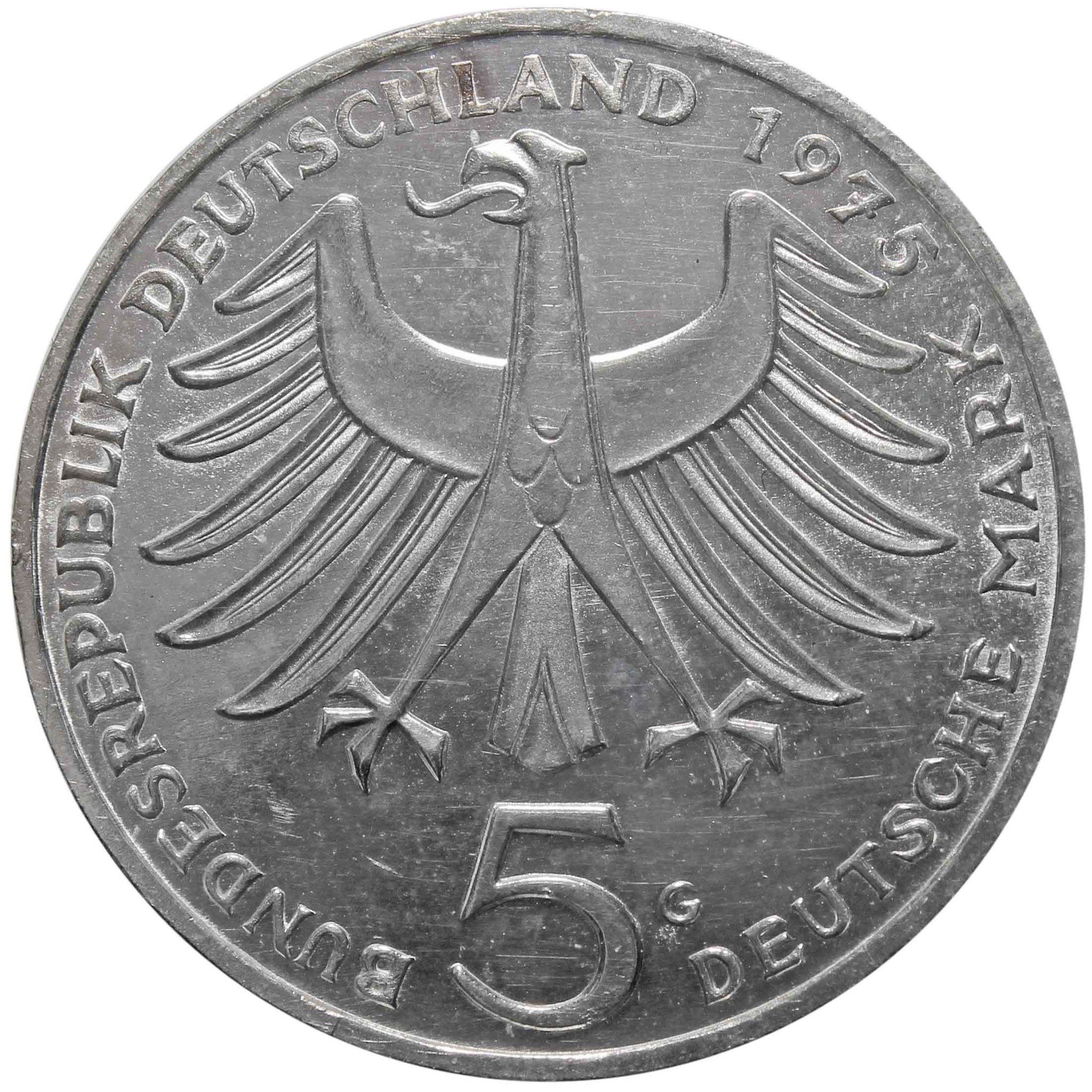 5 марок. 100 лет со дня рождения Альберта Швейцера. Германия. (G). Серебро. 1975 год. AU