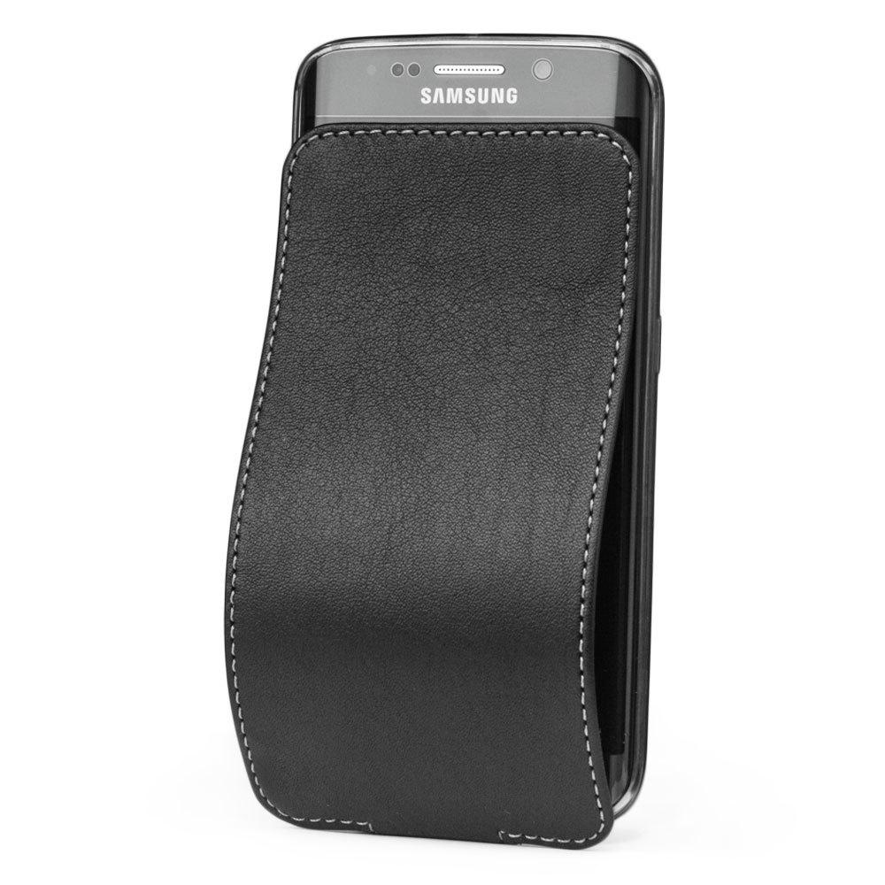 Чехол для Samsung Galaxy S6 edge из натуральной кожи теленка, черного цвета