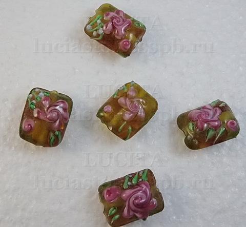 """Бусина Лэмпворк """"подушка"""" янтарная с розовым 18-19х13-15х8-10 мм ()"""