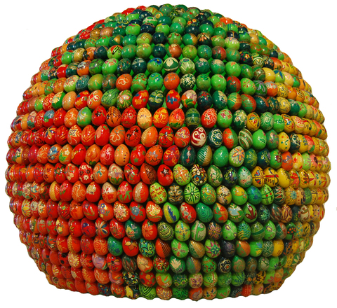 Small sphere, red and green, floor-mounted