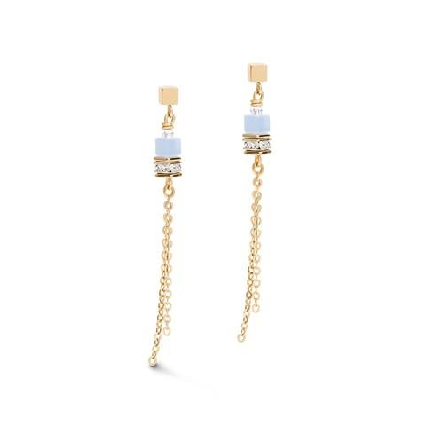 Длинные серьги Gold-Blue 5064/21-0716 цвет голубой, золотой